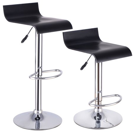Set Of 2 Modern Bent Wood Bar Stool Adjustable Swivel