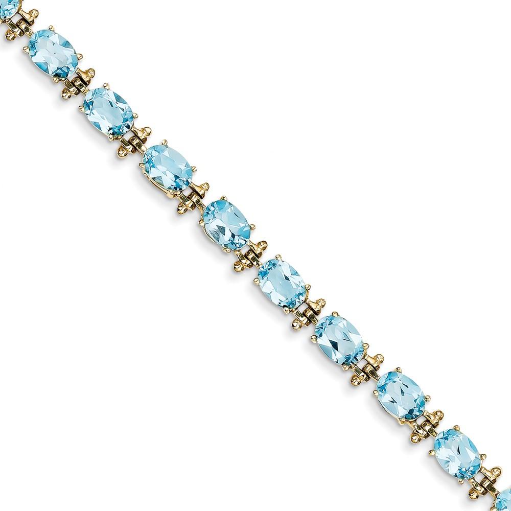 """14K Yellow Gold Blue Topaz Bracelet -7"""" (7in x 7mm) by"""