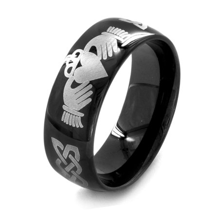 Black Claddagh Charms - Men's Black-Plated Stainless Steel Claddagh Ring