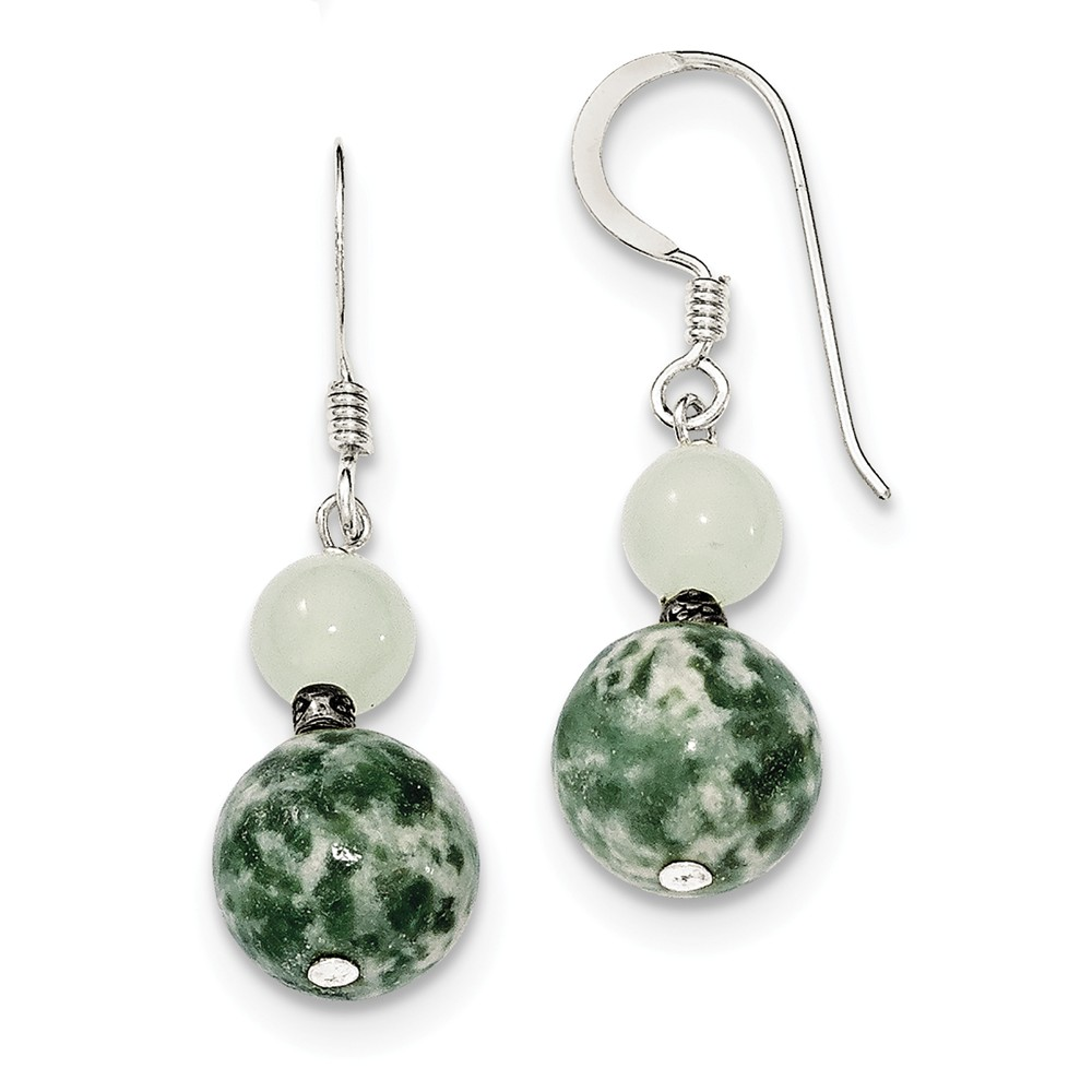 Sterling Silver Green Moss Agate & Green Quartz Earrings (1.3IN x 0.3IN )