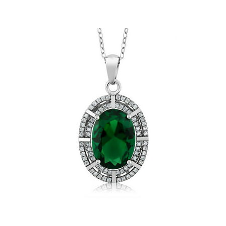 6.94 Ct Oval Green Simulated Emerald 925 Sterling Silver Pendant with 18