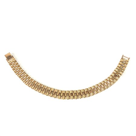 14k Yellow Gold Rolex Link Mens Bracelet, 8.5