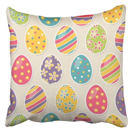 CMFUN Blue Retro with Easter Eggs Colorful Drawing Vintage Flower Bright Sunday April Pillow Case Cushion Cover 20x20 inch