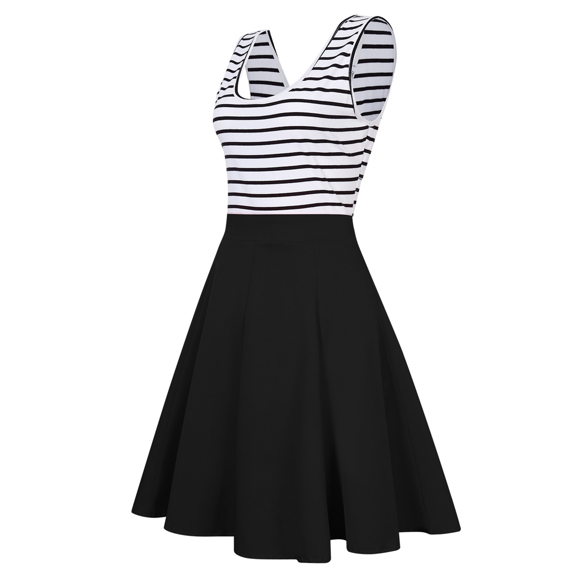 3cde4a60116e2 Women's Open Back Sleeveless Sexy Hollow Out Slim Fit Black White Stripe  Casual Cocktail Cute Mini Swing Dress | Walmart Canada ?