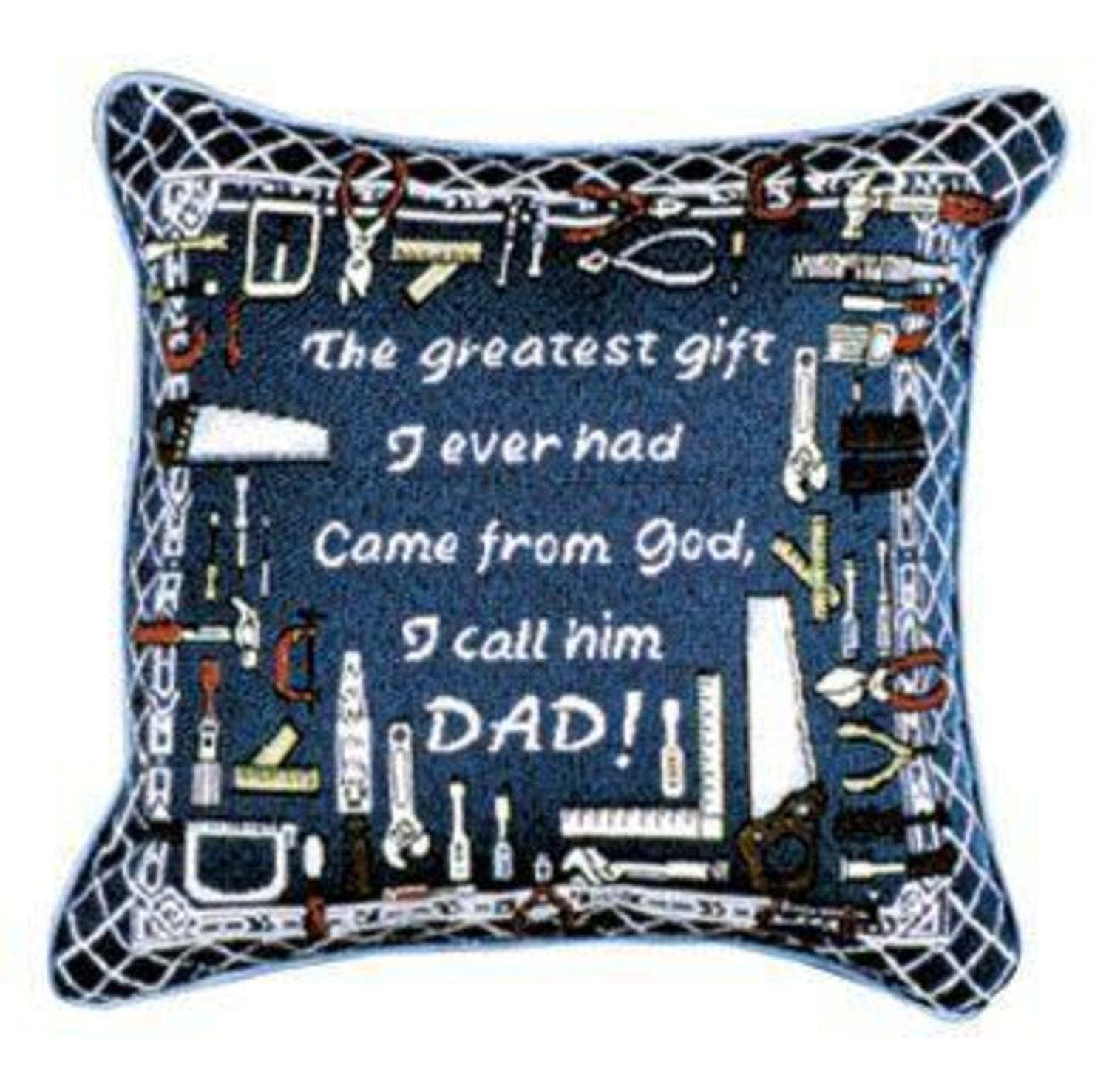 """Greatest Dad Father's Day Decorative Accent Throw Pillow 12"""" x 12"""""""