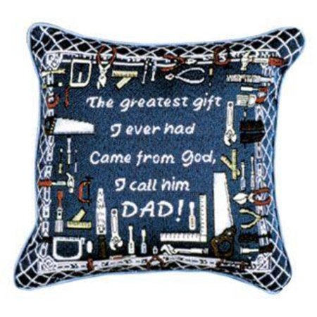 "Greatest Dad Father's Day Decorative Accent Throw Pillow 12"" x 12"""