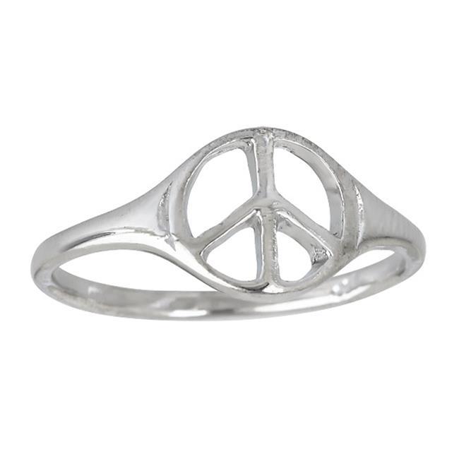 Ygi Sr2961 07 Sterling Silver Rhodium High Polished Peace Sign Ring 7