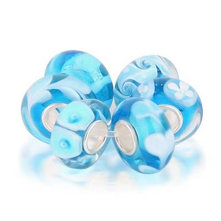 Bling Jewelry Set of Six Bundle Blue Simulated Turquoise Murano glass Lampwork Bead Charm .925 Sterling Silver