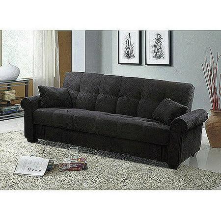 Meridian Microfiber Convertible Sofa with Storage, Black