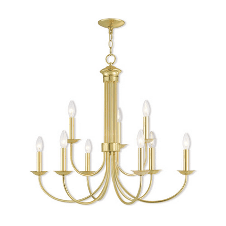 Chandeliers 6 Light With Polished Brass Candelabra 30 inch 360 Watts - World of Crystal