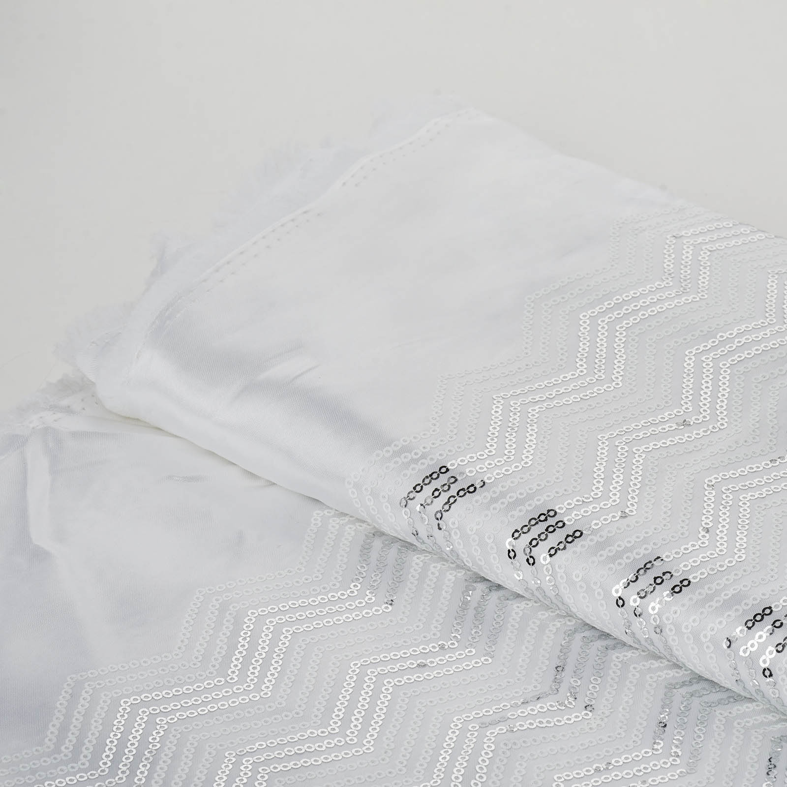"""BalsaCircle Silver White 54"""" x 4 yards Sequins Chevron Pattern Fabric Bolt Sewing Put-up - Sewing Crafts Draping Decorations Supply"""