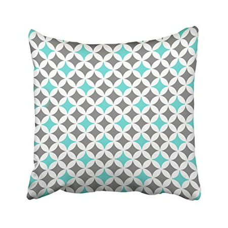 WinHome Decorative Gray and Turquoise Circles Pattern Throw Pillow Case Cushion Cover Decorative Size 18x18 inches Two Side