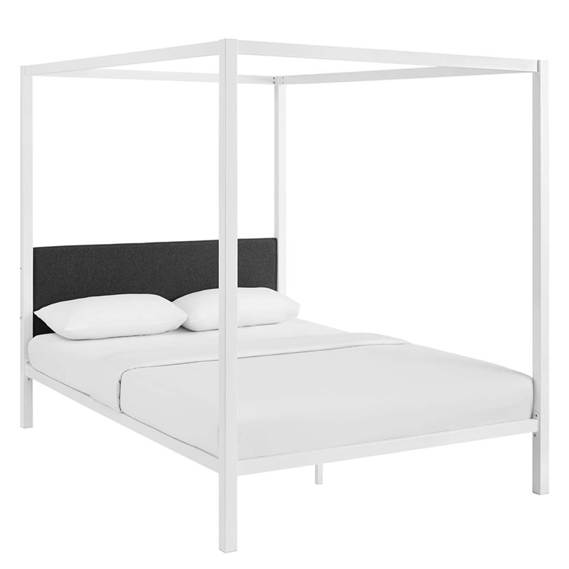 Modway Raina Queen Metal Canopy Bed In White And Gray