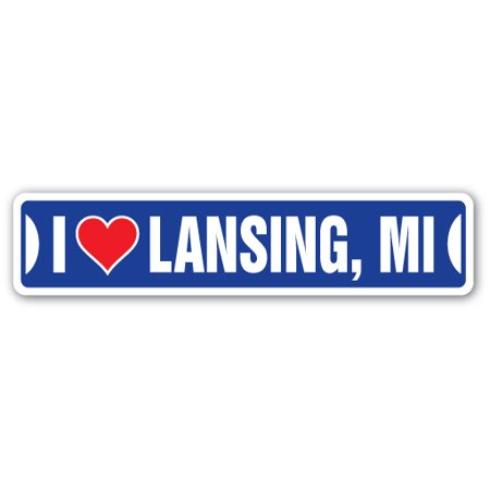 I LOVE LANSING, MICHIGAN Street Sign mi city state us wall road décor gift
