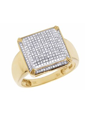 5d0a7d56faeff7 Product Image Men's 10K Yellow Gold Real Diamond Square Pinky Ring 1/2 CT  15MM