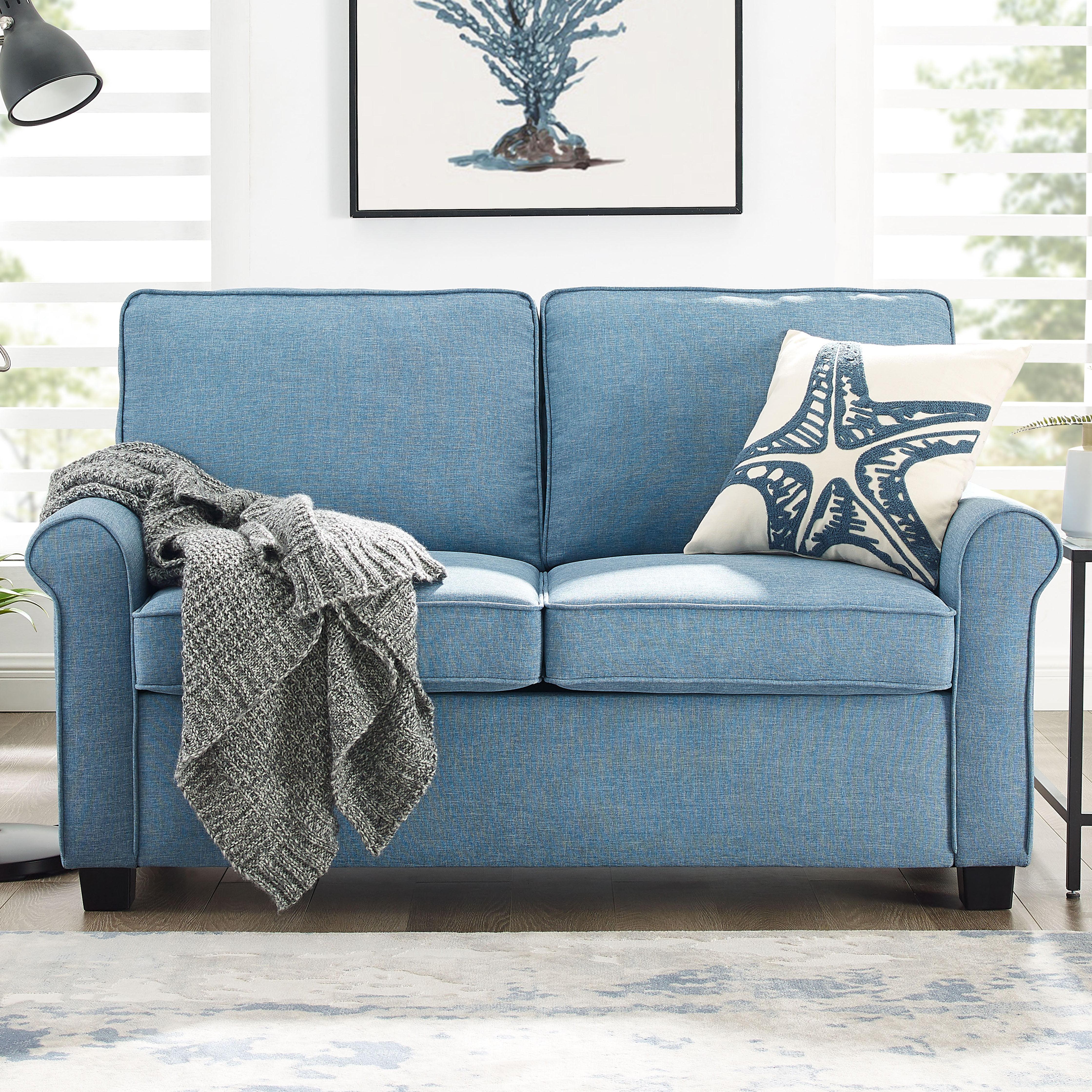 Mainstays Traditional Loveseat Sleeper With Memory Foam Mattress Light Blue Walmart Com Walmart Com