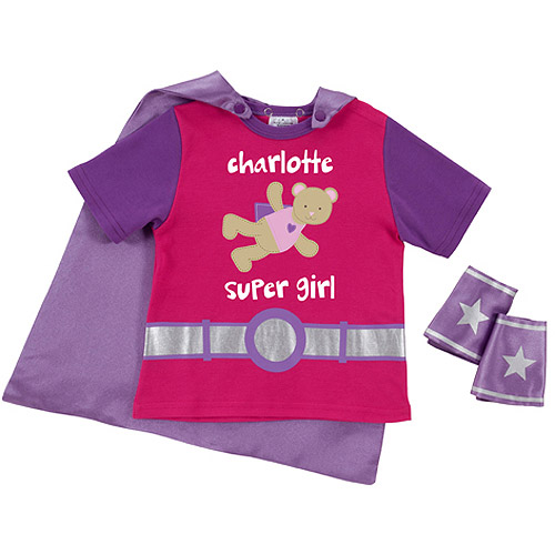 Sandra Magsamen Personalized Toddler Super Girl Shirt and Cape Combo, Pink