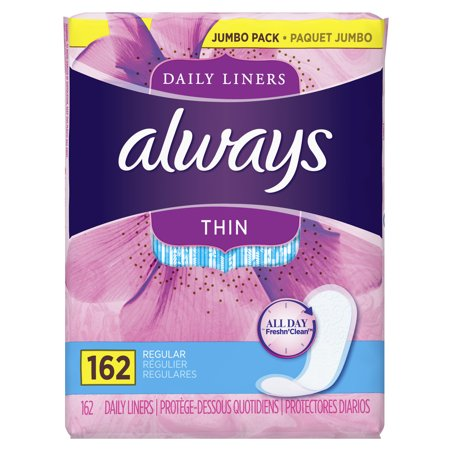 Always Thin Daily Liners, Unscented, Wrapped, Regular, 162 Count ()