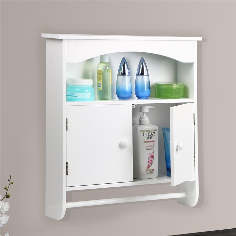Yaheetech White Wooden Bathroom Wall Cabinet Toilet Medicine Storage  Organiser Cupboard 2 Door With Bar Shelf