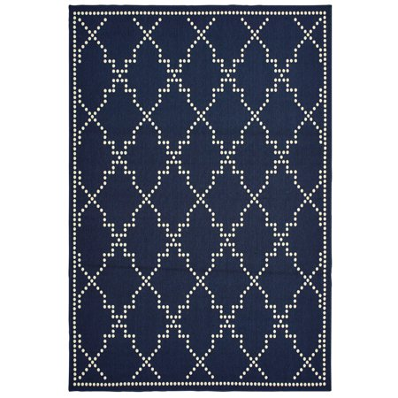 Diagonal Accent - Moretti Parker Area Rugs - 7765B Contemporary Navy Lines Dotted Diagonal Bordered Rug