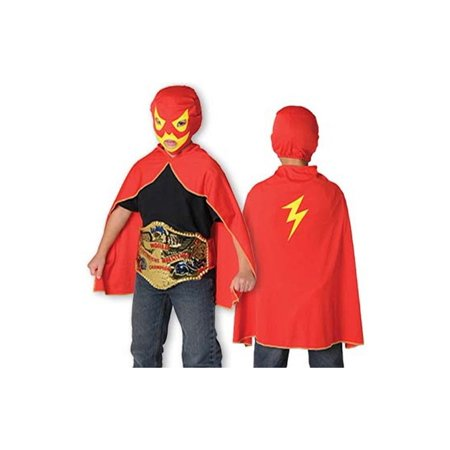 Childs Wrestler Wrestling WWE Costume Lucha Libre Mask and Cape Play Set