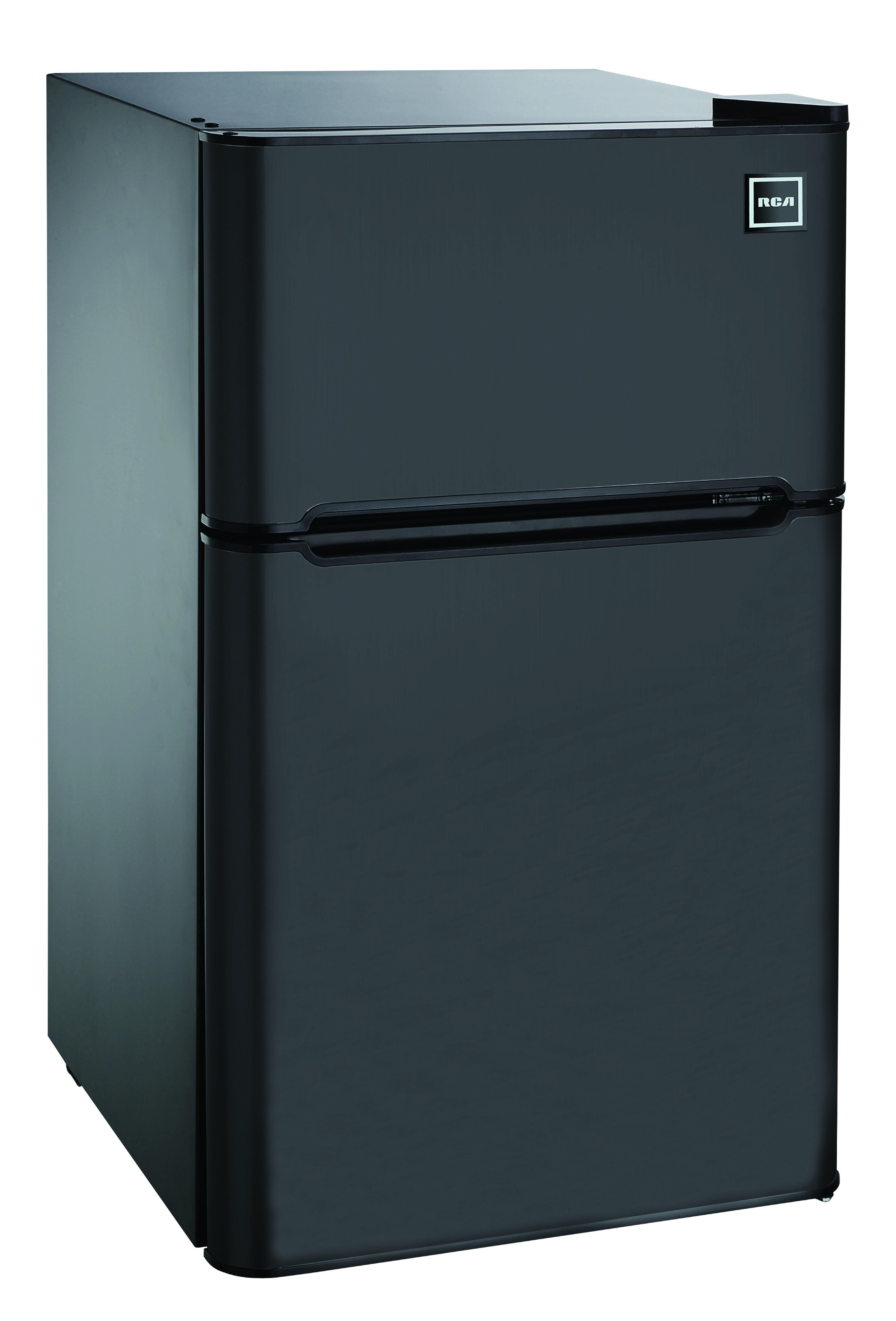 RCA 3.2 Cu Ft Two Door Mini Fridge with Freezer RFR832, Black
