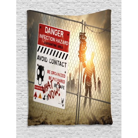 Zombie Decor Tapestry, Dead Man Walking Dark Danger Scary Scene Fiction Halloween Infection Picture, Wall Hanging for Bedroom Living Room Dorm Decor, 40W X 60L Inches, Multicolor, by Ambesonne