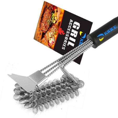 KIBEE Safe Grill Brush with Scraper Best 3in1 BBQ Brush Grill Bristle Free?Rust Resistant Stainless Steel Grill Cleaning for Weber Gas/Charcoal Grill (Coils Bristle Free) Coils Bristle (The Best Bbq Grill)
