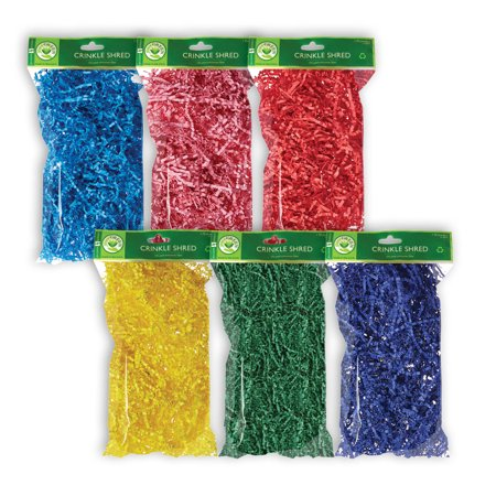 Jillson & Roberts Eco-Friendly Crinkle Shred Assortment, Primary (6 Pack)](Yellow Crinkle Paper)