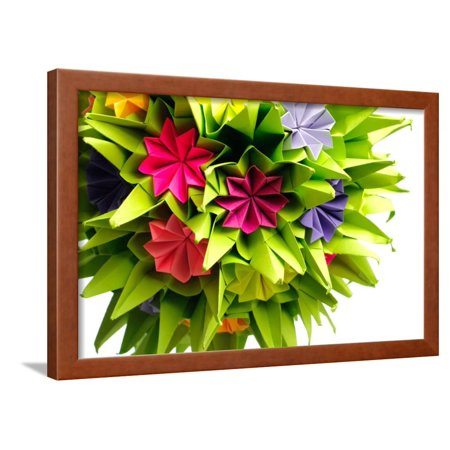 Origami Kusudama Flower Framed Print Wall Art By Oksix