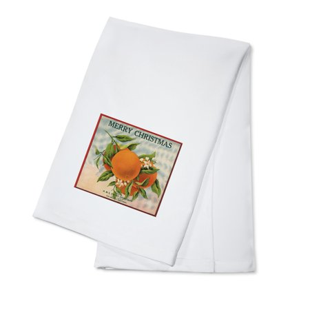 Merry Christmas Orange Branch - Los Angeles, California - Citrus Crate Label (100% Cotton Kitchen Towel) (California Orange Crate Label)