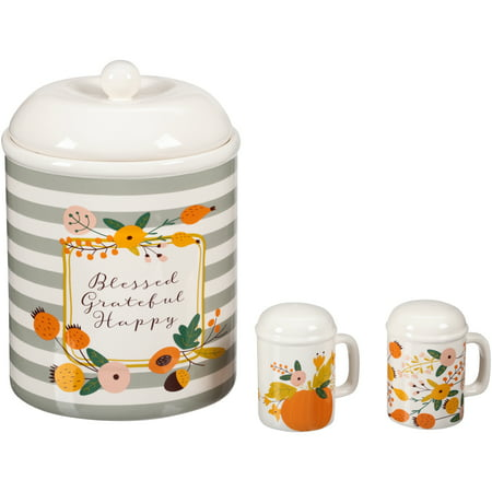 Mainstays 3-Piece Harvest Floral Cookie Jar and Salt & Pepper Set