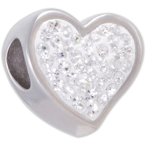 Connections from Hallmark Clear Crystal Stainless Steel Heart Bead