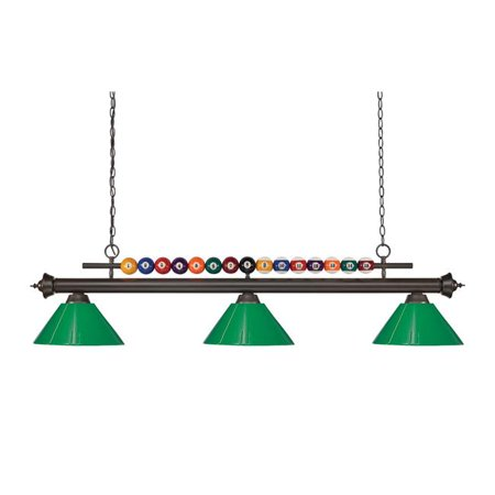 Z Lite 170BRZ-PWH Shark Billiard 3 Light with White Plastic Shade, Bronze - 15 x 14 x 58 in. - image 1 of 1