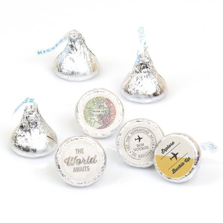 World Awaits  Travel Party Round Candy Stickers - Labels Fit Hershey's Kisses (1 sheet of 108)