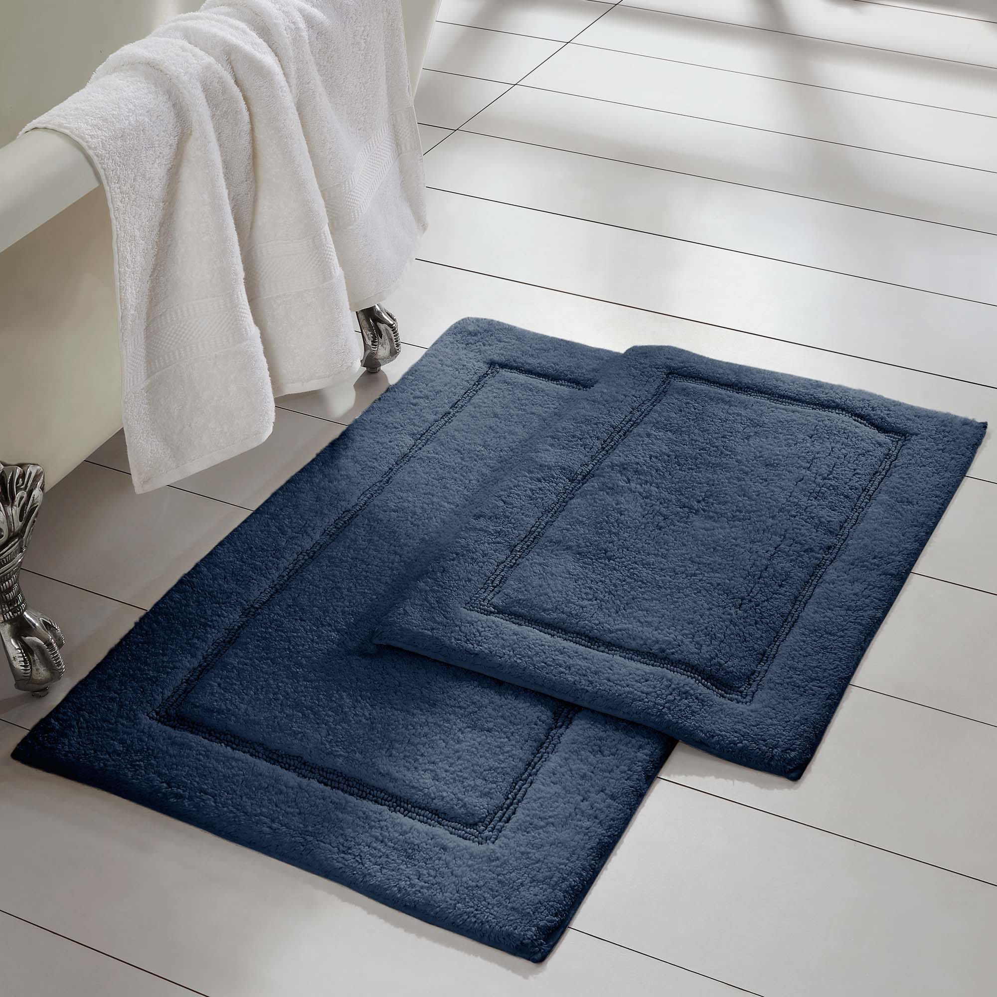 BISCUIT 2x3 ft Absorbent Cotton Bath Rug Non Skid Bathroom Bed Shower Mat 2 PACK