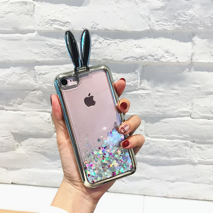 Cute 3D Bunny Kickstand Floating Hearts Liquid Waterfall Bling Glitter Case Cover For iPhone 8 Plus 5.5""