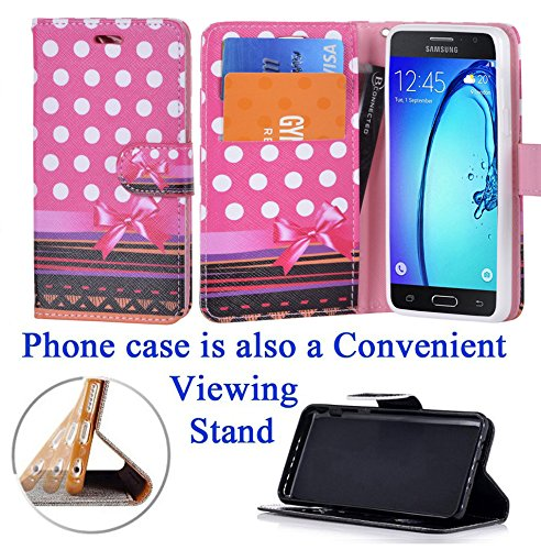 """for 5"""" Samsung Galaxy ON5 ON5 PRO Grand ON5 Case Phone Case Designed Wallet Fold Kick stand Hybrid Pouch Pocket Purse Screen Flip Cover Happy Hearts"""