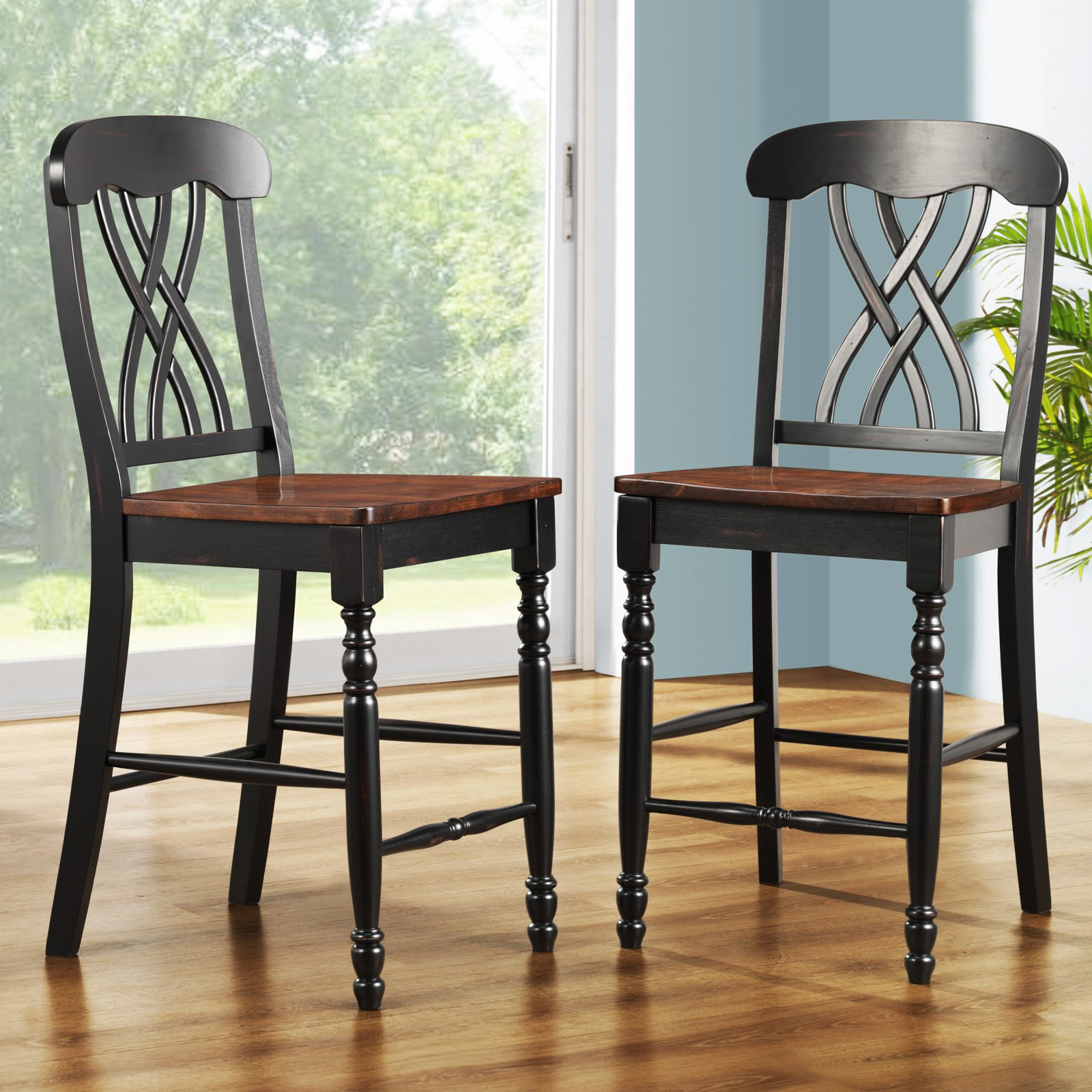 Weston Home Ohana Counter Height Chair Black & Oak Set of 2 by Top-Line dba Homelegance