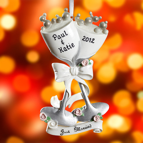 Personalized Wine Flutes Wedding/Anniversary Ornament