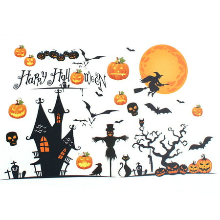 Happy Halloween Wallpaper Hd (Halloween Pumpkin Witch Moon Bat Design PVC Wall Sticker DIY)