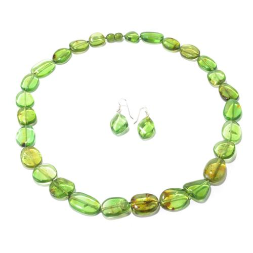 V3 Designs Sterling Silver Green Baltic Amber Earring and Necklace Set
