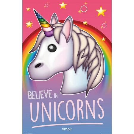 Believe Poster Print - Unicorn Emoji - Motivational / Fantasy Poster / Print (Believe In Unicorns) (Size: 24