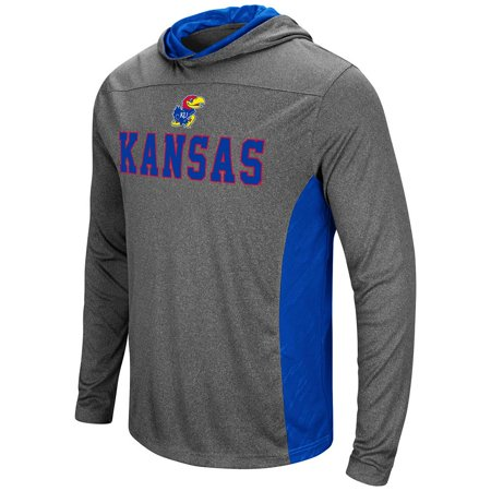 Kansas Jayhawks Mat - Mens Kansas Jayhawks Wingman Sleet Hooded Tee Shirt