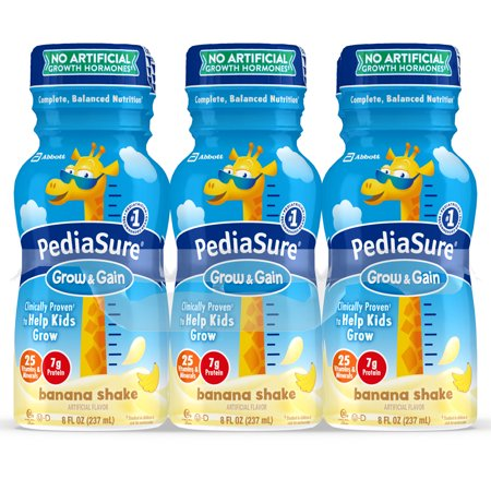 PediaSure Grow & Gain Kids' Nutritional Shake, with Protein, DHA, and Vitamins & Minerals, Banana, 8 fl oz,