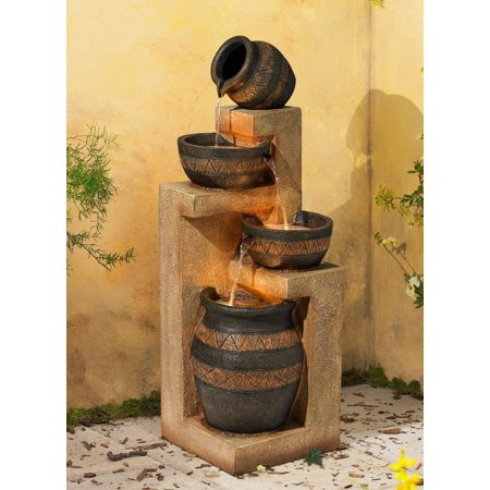John Timberland Rustic Outdoor Floor Water Fountain with Light LED 46