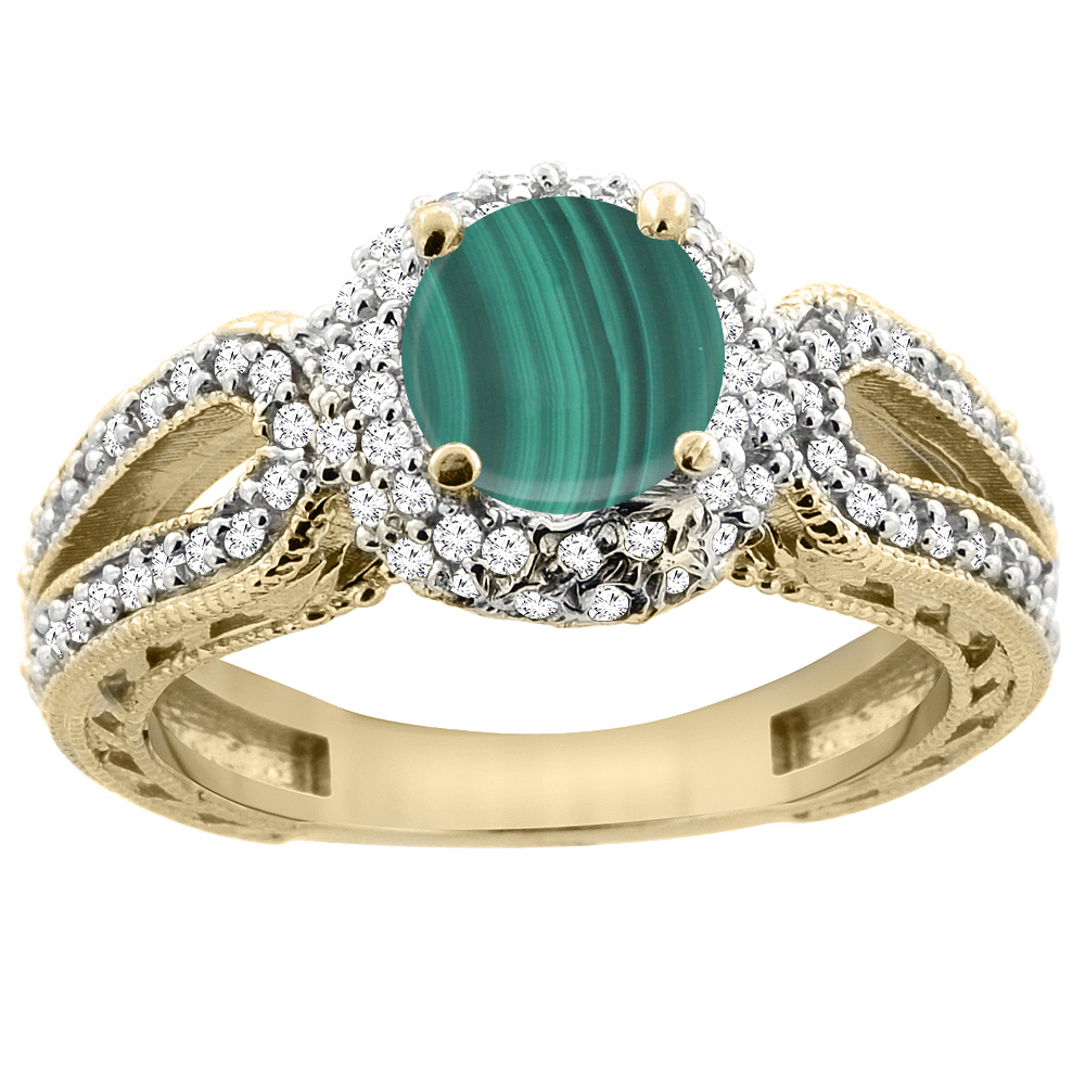 14K Yellow Gold Natural Malachite Engagement Ring Round 6mm Engraved Split Shank Diamond Accents, size 5 by Gabriella Gold