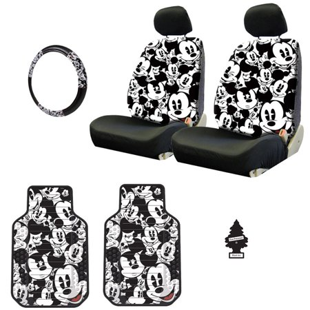 Mickey Mouse Accessories (New Design Disney Mickey Mouse Car Seat Covers Floor Mats Steering Wheel Cover Accessories Set with Air)