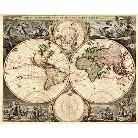 World map poster print by nicolao visscher walmart world map poster print by nicolao visscher gumiabroncs Gallery