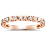 Auriya  Petite Ultra-Thin Stackable Diamond Wedding Band 4/6ct TDW 14k Rose Gold